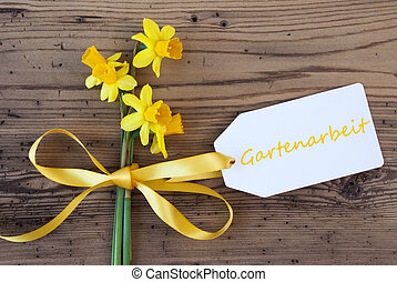Yellow Spring Narcissus, Label, Gartenarbeit Means Gardening...