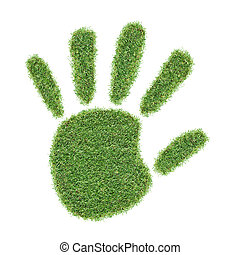 nature touch - real grass hand print isolated on white...