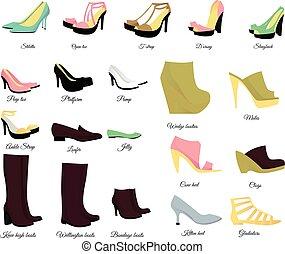 Big shoes set vector illustration