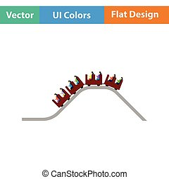 Small roller coaster icon. Flat design. Vector illustration.