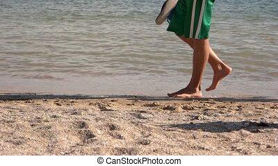 Legs of people walking along the beach.