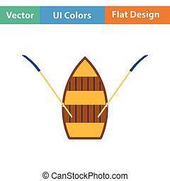 Paddle boat icon. Flat design. Vector illustration.
