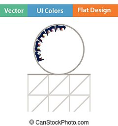 Roller coaster loop icon. Flat design. Vector illustration.