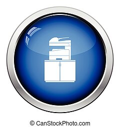 Copying machine icon. Glossy button design. Vector...