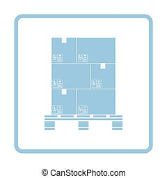 Cardboard package boxes on pallet icon. Blue frame design....