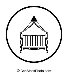 Crib with canopy icon. Thin circle design. Vector...