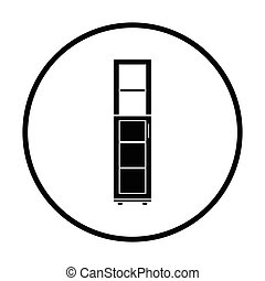 Narrow cabinet icon. Thin circle design. Vector...