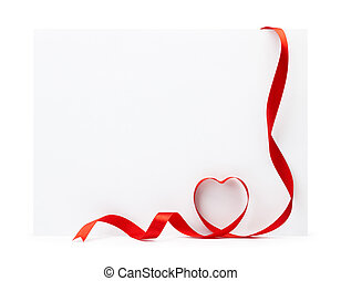 blank card with ribbon - blank greeting card with ribbon...