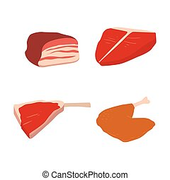 Meat products set of cartoon delicious barbecue kebab...