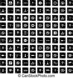100 road signs icons set, grunge style