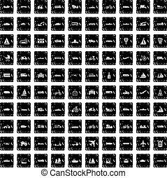 100 transportation icons set, grunge style - 100...