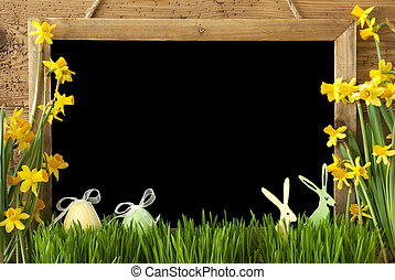 Narcissus, Easter Egg, Bunny, Copy Space - Blackboard With...