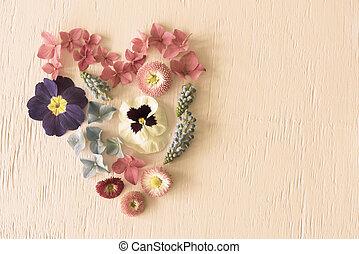 Retro Spring Flower Blossoms, Heart Shape, Copy Space -...