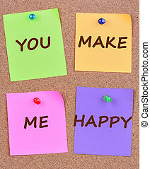 You make me happy words on notes