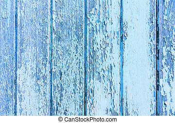 Blue flaky paint on a old weathered wooden fence. Vintage wood background.