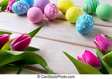 Easter background with hand decorated eggs - Easter hand...