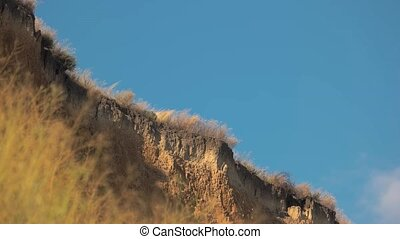 Sandy cliff and sky. High dry grass. Become one with nature....