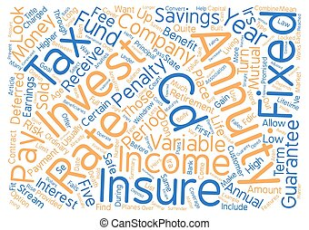 Annuities text background word cloud concept