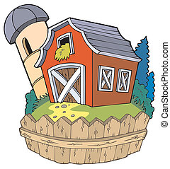 Cartoon red barn with fence - vector illustration