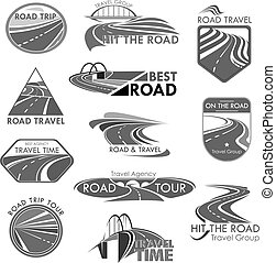Road travel company agency vector template icons - Travel...