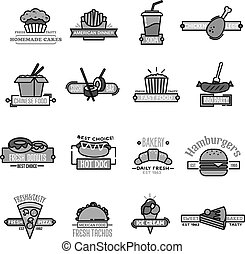 Fast food vector icons of sushi seafood and bakery