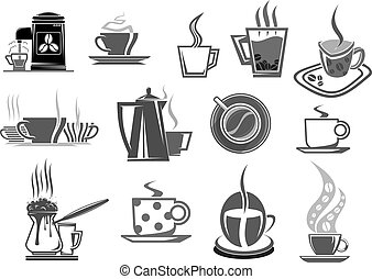Cafe cafeteria coffee cups and beans vector icons