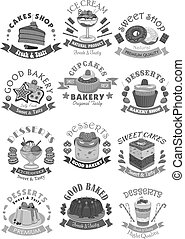 Bakery shop pastry and desserts vector icons - Bakery and...