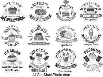 Bakery menu template desserts and cakes icons set - Bakery...