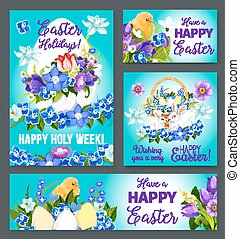 Easter greeting vector paschal banner poster card - Happy...