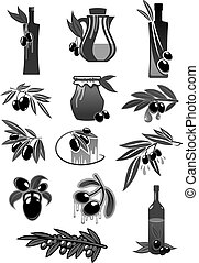 Olives, olive oil bottles and pitchers vector icons