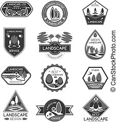 Landscape design company vector icons set
