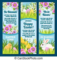 Easter vector banners for paschal greetings - Happy Easter...