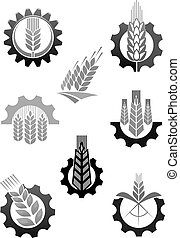 Agriculture icons set of wheat ear and cogwheel