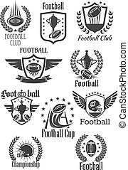 Football rugby vector symbols for championship cup