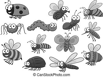 Cartoon insects and bugs vector icons set - Bugs and insects...