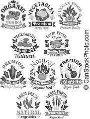 Farm veggies or vegetables vector icons - Vegetables vector...