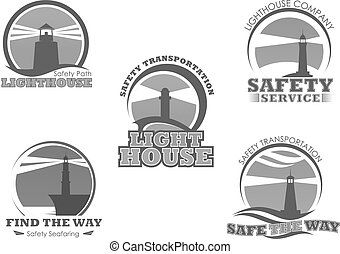 Lighthouse or marine safety beacon vector icons - Lighthouse...