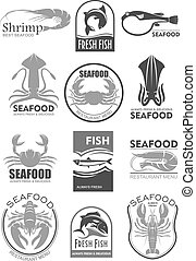 Vector icons for seafood fish food restaurant menu - Seafood...