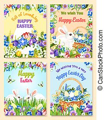 Easter vector paschal eggs bunny greeting cards - Happy...