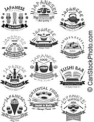 Vector seafood sushi rolls icons for japanese menu -...