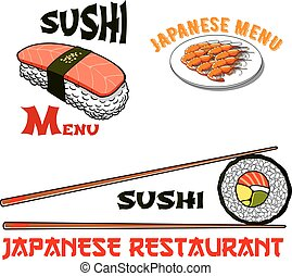 Vector icons for japanese sushi seafood restaurant -...