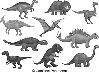 Cartoon dinosaurs icons set of jurassic characters -...