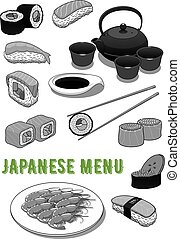 Vector seafood sushi rolls for japanese menu - Japanese menu...