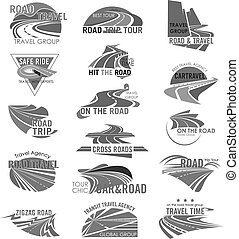 Road travel company or agency vector icons set - Travel...