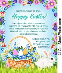 Happy Easter vector paschal greeting poster - Happy Easter...