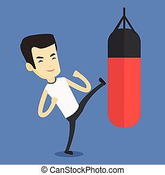 Man exercising with punching bag.
