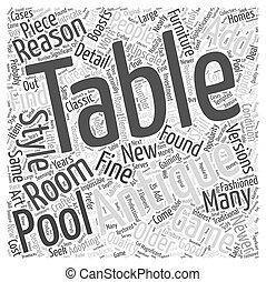 antique pool table Word Cloud Concept