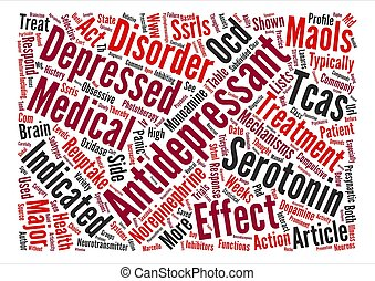 Antidepressants and Phototherapy text background word cloud...
