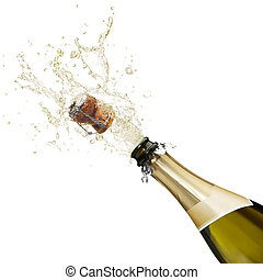 champagne - bottle of champagne popping its cork and...