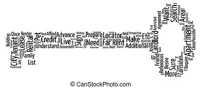 Apartment Search text background wordcloud concept